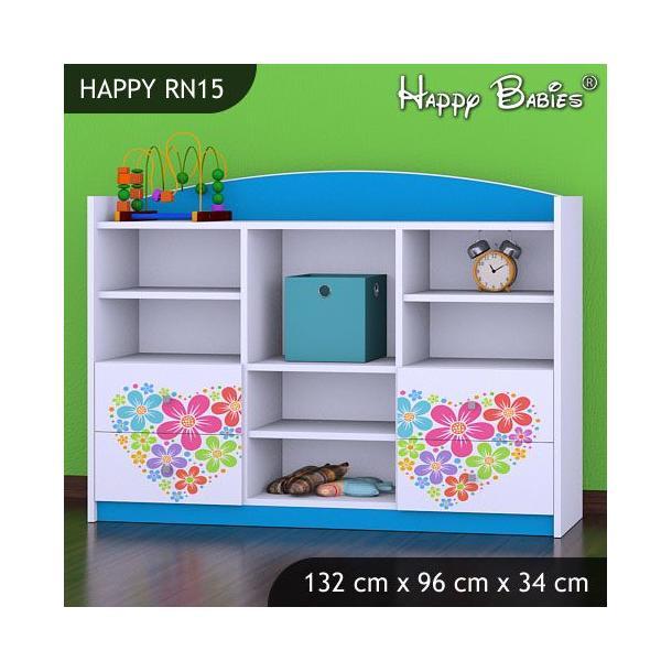 Dětský úložný regál - TYP 15 - NÍZKÝ - modrý