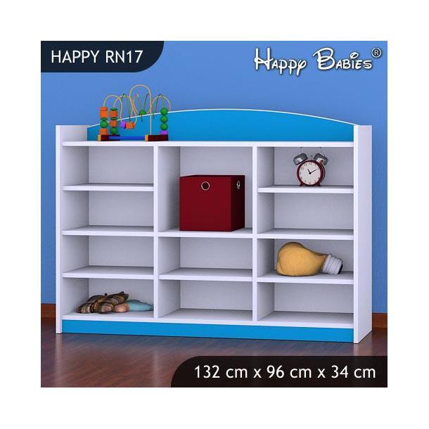 Dětský úložný regál - TYP 17 - NÍZKÝ - modrý