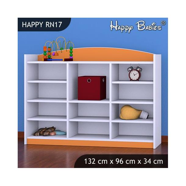 Dětský úložný regál - TYP 17 - NÍZKÝ - oranžový