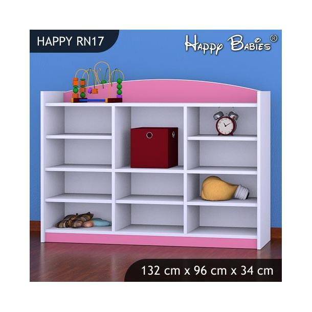 Dětský úložný regál - TYP 17 - NÍZKÝ - růžový