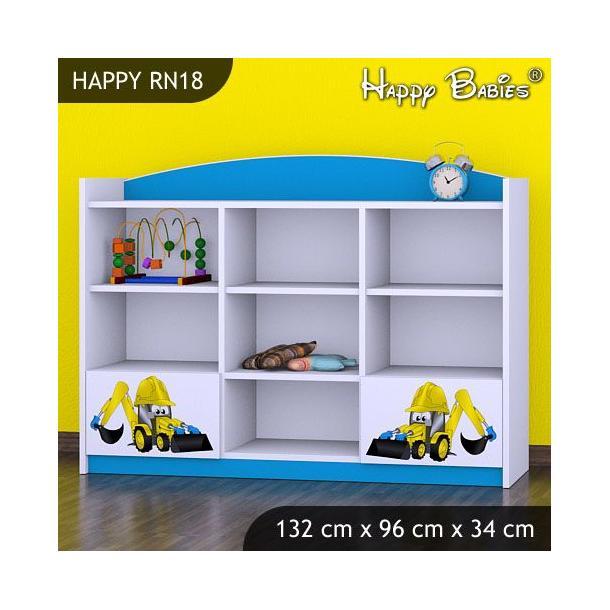Dětský úložný regál - TYP 18 - NÍZKÝ - modrý