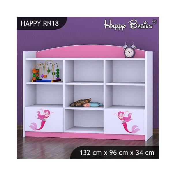 Dětský úložný regál - TYP 18 - NÍZKÝ - růžový