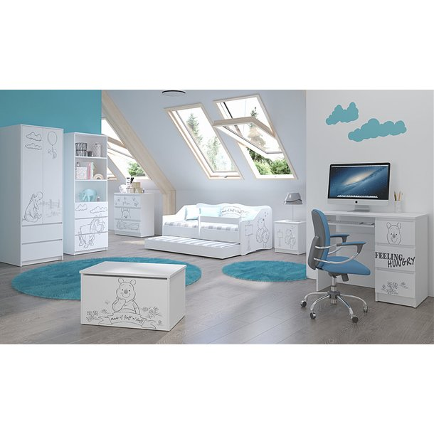 Dětský noční stolek Disney - MEDVÍDEK PÚ  - Black and White