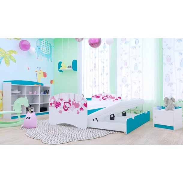 Dětská postel pro DVA (s výsuvným lůžkem) 160x80 cm - FALL IN LOVE