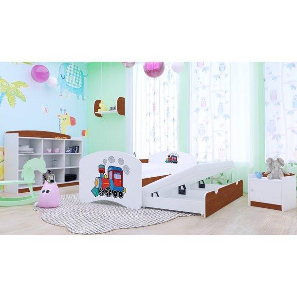 Dětská postel pro DVA (s výsuvným lůžkem) 180x90 cm - SUPER LOKOMOTIVA