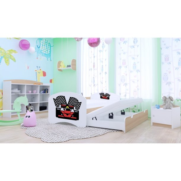 Dětská postel pro DVA (s výsuvným lůžkem) 200x90 cm - FERRARI - matrace ZDARMA