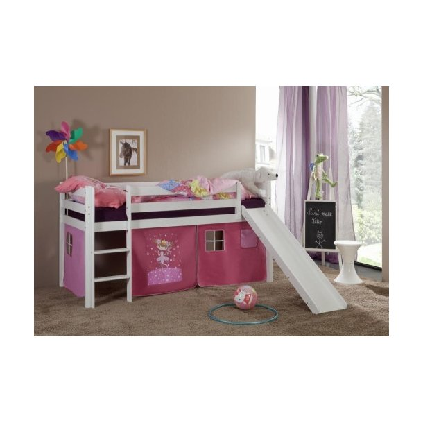 Dětská VYVÝŠENÁ postel DOMEČEK SE SKLUZAVKOU růžový - bez věžičky
