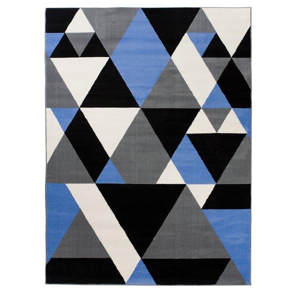 Dětský koberec NOX trojúhelníky - modrý/šedý/černý