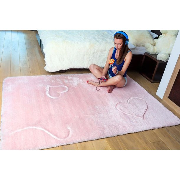 Dětský plyšový koberec RŮŽOVÝ