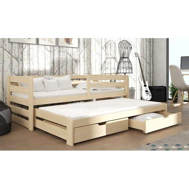 Dětská postel z masivu borovice SANDRA s přistýlkou a šuplíky - 200x90 cm - PŘÍRODNÍ BOROVICE