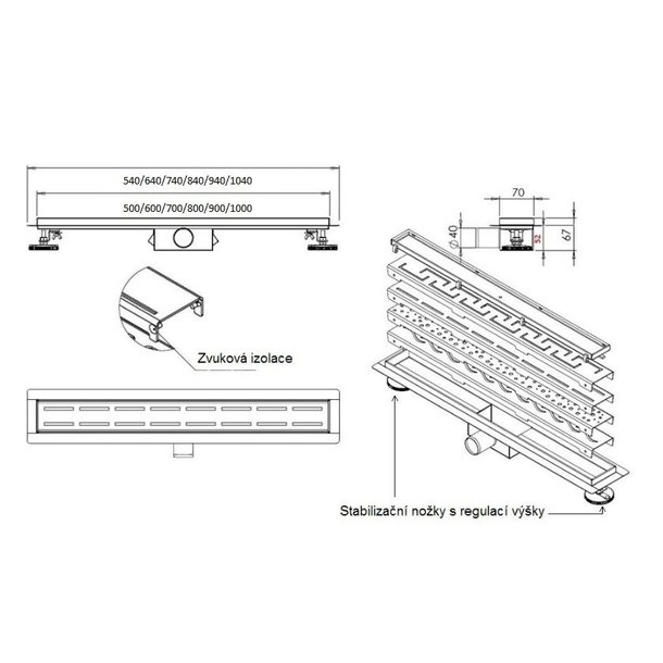 Odtokový sprchový žlab BUBBLE - testovací - neprodejný