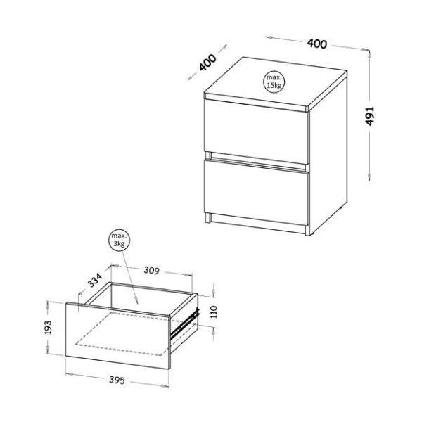 Noční stolek ARMA - WHITE