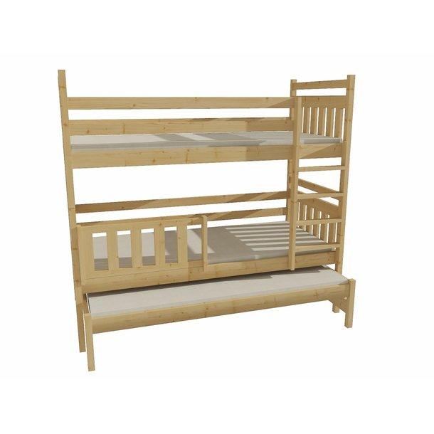 SKLADEM: Dětská patrová postel s přistýlkou z MASIVU 180x80cm bez šuplíku - PPV004 - bez povrchových úprav