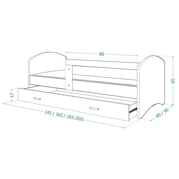 SKLADEM: Dětská postel LUCY se šuplíkem - 160x80 cm - KOCOUREK