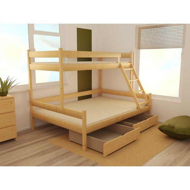 Dětská patrová postel s rozšířeným spodním lůžkem z MASIVU 200x90cm bez šuplíku - PPS002