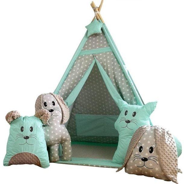 Dětský stan TEEPEE (TÝPÍ) EXCLUSIVE s doplňky - MÁTOVÝ