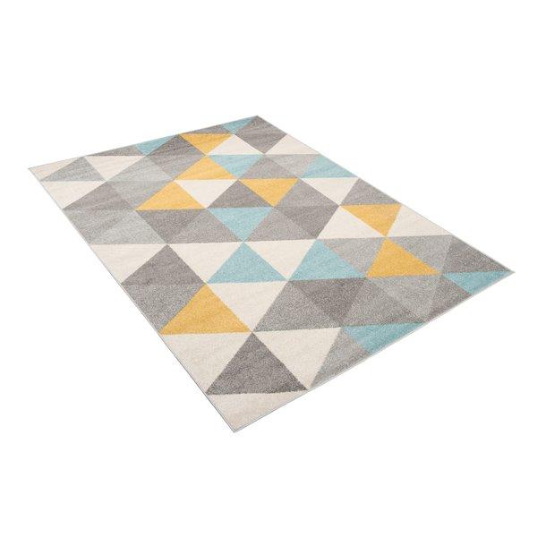 Kusový koberec AZUR trojúhelníky typ A - šedý/žlutý/tyrkysový