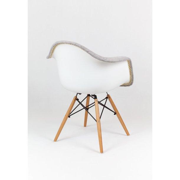 SKLADEM: Designové křeslo TORINO - Šedo-bílé - BUK