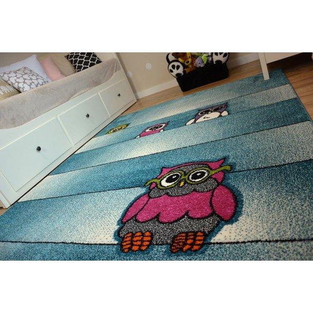 SKLADEM: Dětský koberec KIDS Sovičky - modrý - 240x330 cm