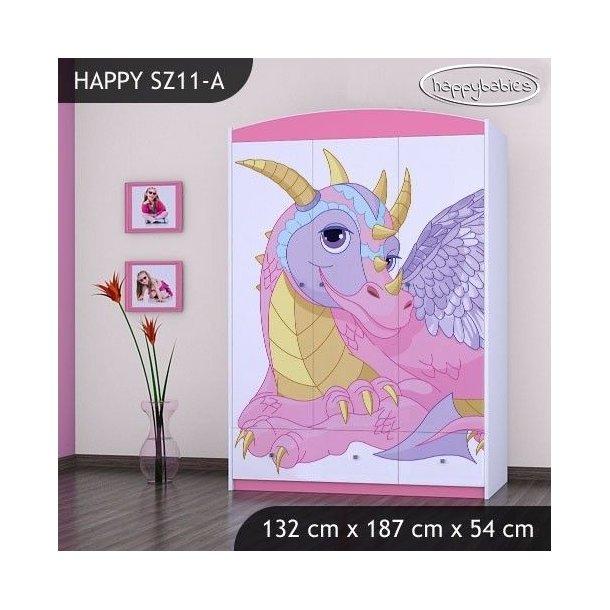 SKLADEM: Dětská skříň DRAK - TYP 11- růžová