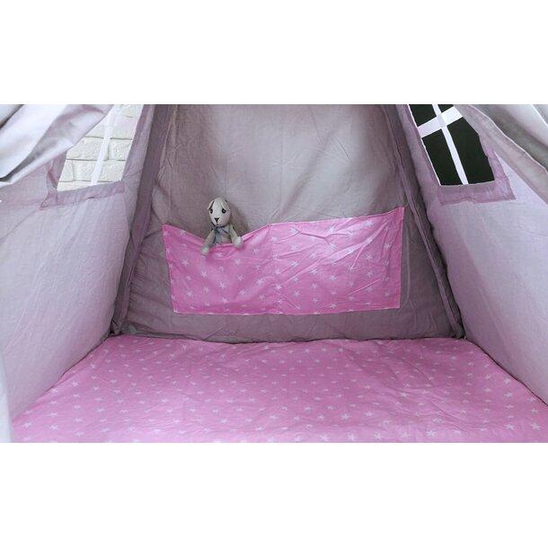 Dětský stan TEEPEE (TÝPÍ) HVĚZDIČKY s doplňky - šedý/světle růžový