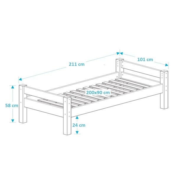 SKLADEM: Dětská postel z MASIVU 200x90cm bez šuplíku KAROLÍNA - bílá