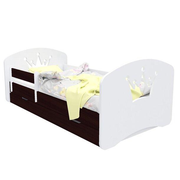 SKLADEM: Dětská postel se šuplíkem 140x70 cm s výřezem KORUNKA - bílá