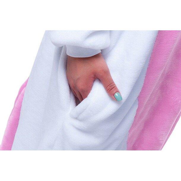 Overal KIGURUMI - jednorožec světle růžový/bílý