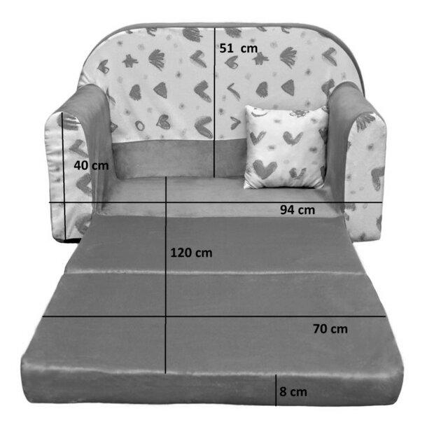 Dětská rozkládací pohovka PLAMEŇÁCI + polštářek ZDARMA - šedá