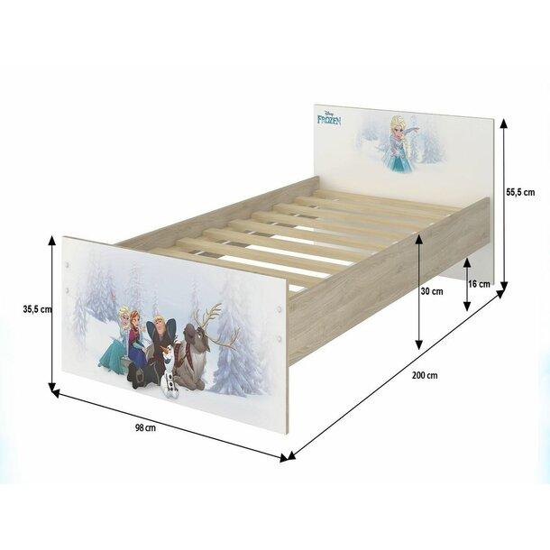 SKLADEM: Dětská postel MAX bez motivu 200x90 cm - světlý dub - 2x krátká zábrana
