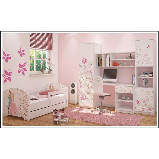 SKLADEM: Dětská postel OSKAR bílá - princezna a princ 140x70 cm + 2x krátká zábrana