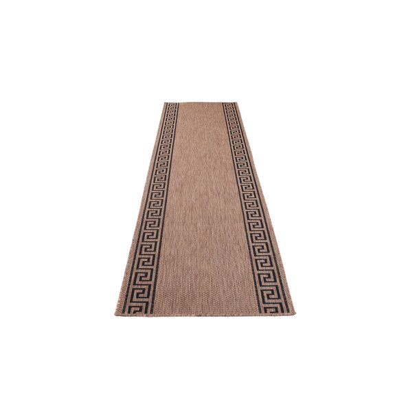 SKLADEM: Sisalový PP běhoun GREEK - hnědý/černý - 100x508 cm