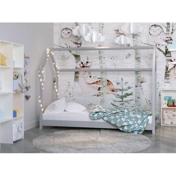Dětská domečková postel IZABELA - šedá 200x90 cm