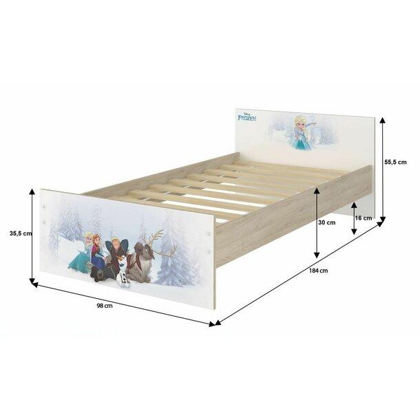 SKLADEM: Dětská postel MAX bez motivu 180x90 cm se šuplíkem - světlý dub + 1 dlouhá a 1 krátká bariérka