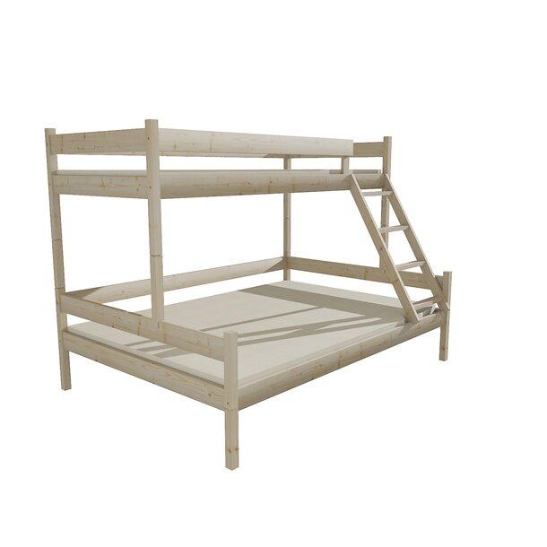Dětská patrová postel 200x90 cm s rozšířeným spodním lůžkem 200x140 cm z MASIVU bez šuplíku - PPS002 - bezbarvý lak
