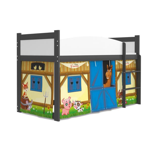 SKLADEM: Vyvýšená dětská postel TWISTER 184x80 cm - Farma - bílá/modrá + matrace