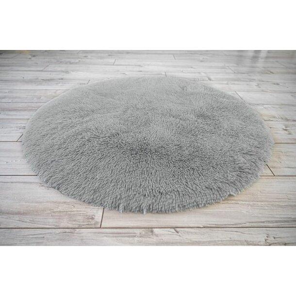 Plyšový kulatý koberec SOFT 90 cm - šedý