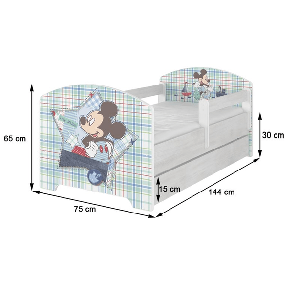 SKLADEM: Dětská postel bez šuplíku Disney - LEDOVÉ KRÁLOVSTVÍ 140x70 cm + 2x bariérka