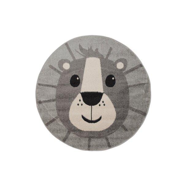 Dětský kulatý koberec Happy M LEV - šedý