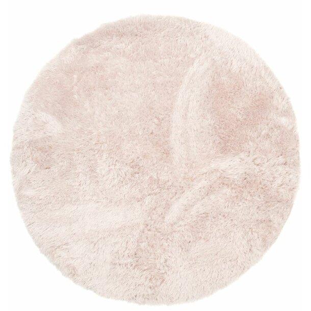Plyšový kulatý koberec FIREN - béžový