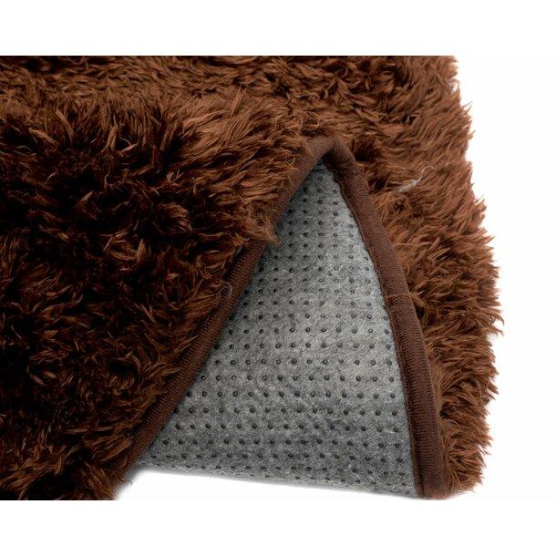 Plyšový kulatý koberec FIREN - hnědý
