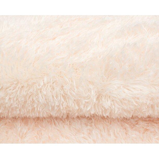 Plyšový kulatý koberec FIREN - krémový