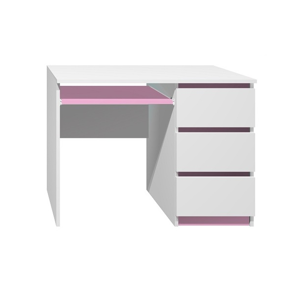 SKLADEM: Psací stůl - CITY TYP A - pravé provedení - bílý+červený