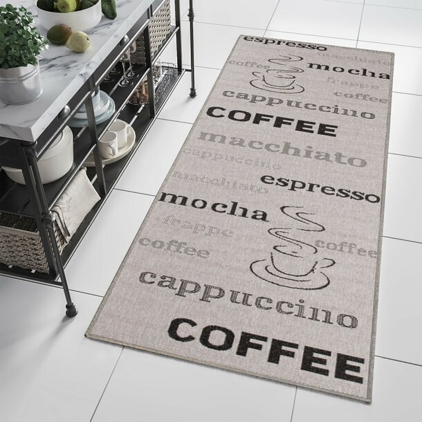 Sisalový PP běhoun COFFEE - světle hnědý/černý - 100x200 cm