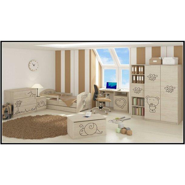 SKLADEM: Dětská postel s výřezem MÉĎA bez šuplíku - přírodní 160x80 cm + 1 dlouhá a 1 krátká bariérka