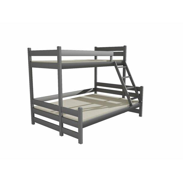 SKLADEM: Dětská patrová postel s rozšířeným spodním lůžkem z MASIVU 200x90cm bez šuplíku - PPS004 - šedá