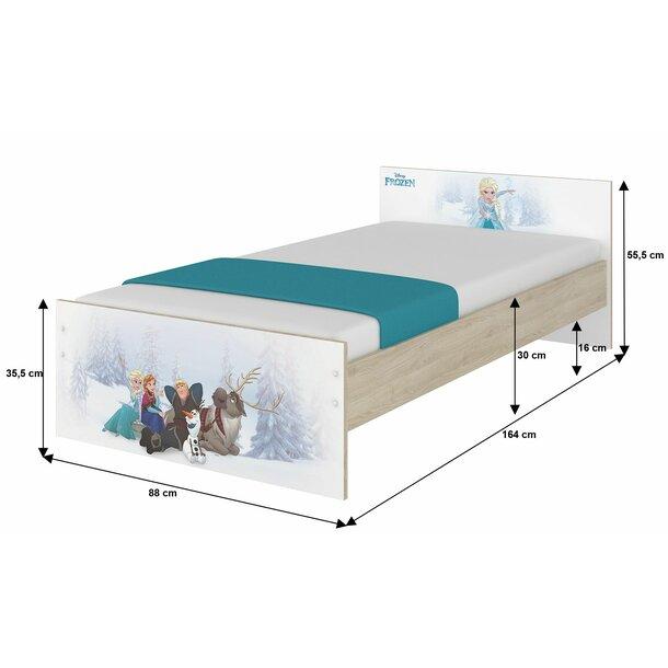 SKLADEM: Dětská postel MAX bez šuplíku Disney - FROZEN 160x80 cm - bez bariérek