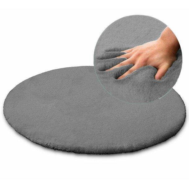 Kulatý koberec RABBIT - 100 cm - popelavý - imitace králičí kožešiny