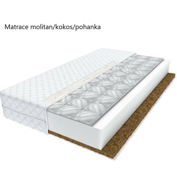 SKLADEM: Dětská patrová postel TANY - 160x80 cm - zelená + bílý šuplík + 2x matrace