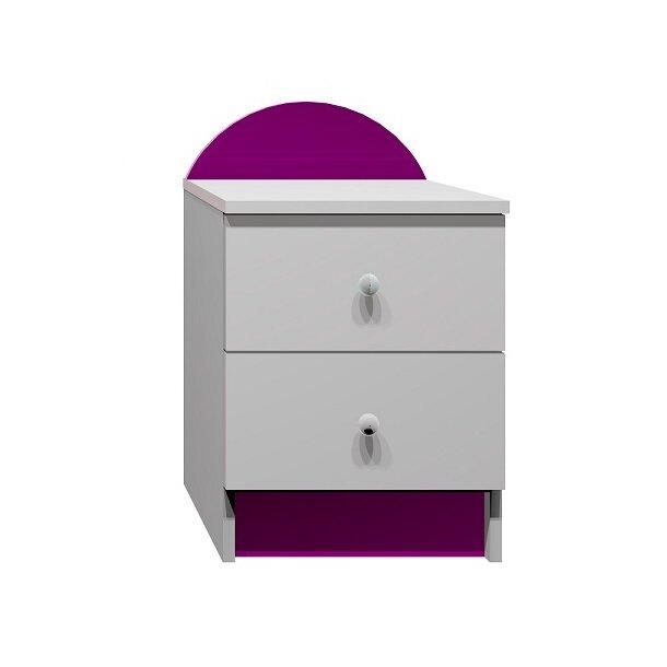 SKLADEM: Noční stolek BAREVNÉ SOVY - bílá+fialová